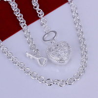 S-N022 wholesale,925 silver crystal heart necklace,link chain,fashion jewelry, Nickle free,antiallergic,factory price