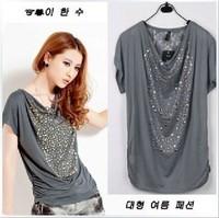 Plus size clothing plus size summer mm new arrival 2013 fashion rhinestones short-sleeve T-shirt bag