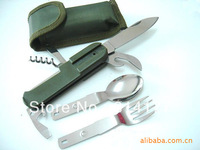 Free shipping Pocket Multifunctional folding Army style SWISS knife With Spoon, Fork, LED light - Camping Equipment