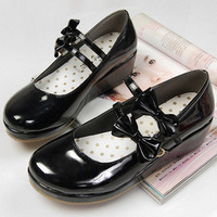 Lolita princess bow double hasp wedges round toe single shoes