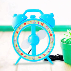 free shipping fan Time machine double bell alarm clock style usb small fan cartoon mini fan(China (Mainland))