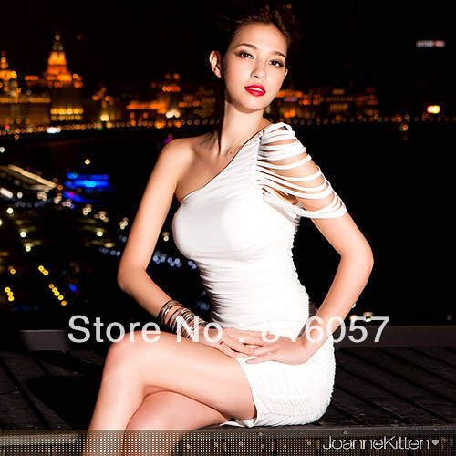 Sexy clothing wholesale inclined shoulder sexy tight miniskirts night Gowns Dress Free Shipping(China (Mainland))