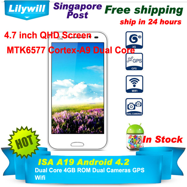 SG POST ISA A19 Android 4.2 3G Smart Phone with 4.7 inch QHD Screen Dual Core 4GB ROM Dual Cameras GPS (White)(China (Mainland))