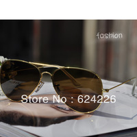 2013 New Sun Glasses Sunglasses Men`s Women's Sunglasses Gold Frame Brown Lens With Leather Box