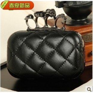 2012 leather skull ring bag vintage evening bag cowhide chain fashion women's handbag(China (Mainland))