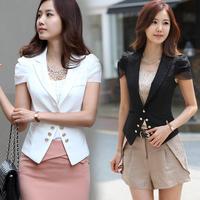 2014 summer female slim elegant plus size short-sleeve casual short design short-sleeve suit blazer jacket