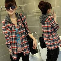 New 2014 Autumn Women Slim Hooded Long-Sleeved Blouses Stylish Single-Breasted Plaid Female Shirt Free Shipping Promotio