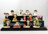 New  PVC 13PCS/SET 6CM Box-Packed Cute Chi-bi Maruko Action figure High Quality  Anime figure Toys Sakura Momoko  Free Shipping