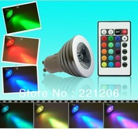 5pcs/lot GU10 5W 5 WATT RGB FLASH LED LAMP LIGHT BULB REMOTE CONTROL