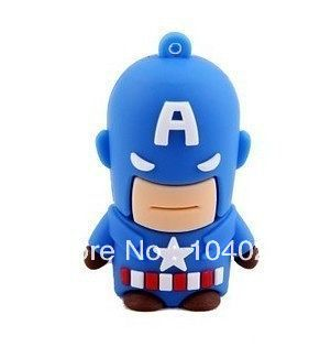 Fast ship 4gb 8gb 16gb 32gb blue cartoon captain america hero USB 2.0 flash drive memory pen disk(China (Mainland))