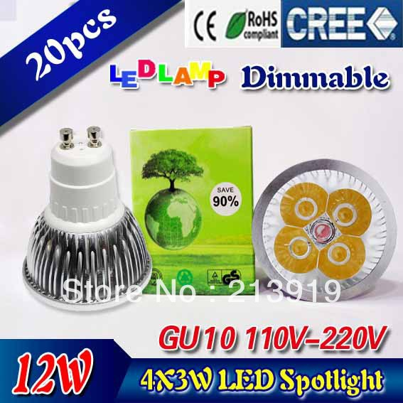 Super low price time buying 20pcs/lot Dimmable LED Lamp GU10 4X3W 12W LED Light Bulbs High Power LED Spotlight(China (Mainland))