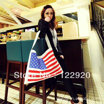 Factory outlets women fashion handbag 2013 new bag baigou American flag canvas shopping bag shoulder bag handbag(China (Mainland))