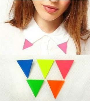 Fashion fluorescent candy color triangle collar brooches Free shipping Min.order $10 mix order+gift