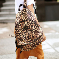 2013 fashion bag leopard print rivet vintage backpack fashion student school bag women's handbag