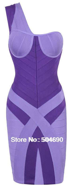 Purple HL Bandage Dress A050 One Shoulder Evening Party Dress Sexy Celebrity Dresses Fashion Prom Formal Dress Free Shopping(China (Mainland))