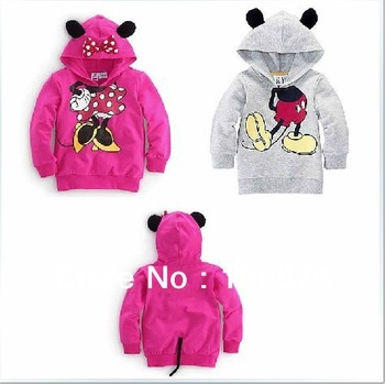 new arrive boys girls long sleeve hoodies Mickey Minnie cartoon top kids tee shirts fit 2-6yrs 5pcs/lot free shipping  WX352