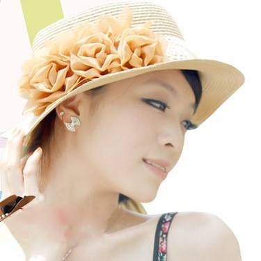 C047 2013 summer women's cadet cap rose small flower sunbonnet anti-uv paper strawhat(China (Mainland))