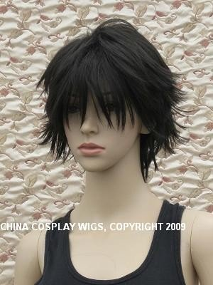 Death Note Short black Naruto Uchiha Sasuke cosplay wig + Cap**Free Ship(China (Mainland))