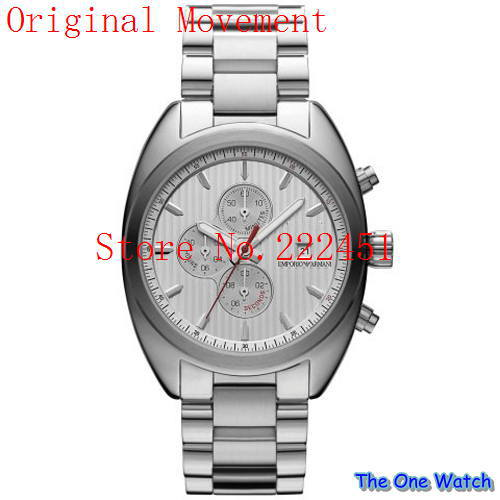 The one watch wholesale-Emporio silver-white three men watch ar5958+ Original box(China (Mainland))