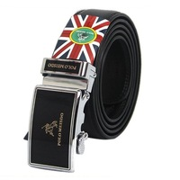 Hot Sales New Fashion  Mens Polo Automatic Buckle Leather Belt Black