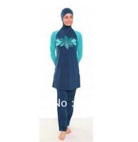 2013 New Design Made-to-measure Lotus Pattern Plus Size Girls Muslim Swimwear Islamic Swimwears Women Beach Swimsuits For Muslim