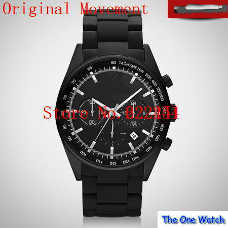 The one watch wholesale-Fashion brand man watch black plastic steel men's quartz watch ar5981 + Original box(China (Mainland))