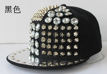 Punk rivet hiphop hip-hop hiphop baseball flat brim hat performance cap 26 sparkling diamond s25