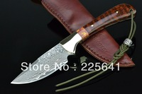 HOT!100% NEW  SHOOTEY damascus fixed blade knife,handmade,snakewood and copper head handle,59HRC,high quality,Free shipping