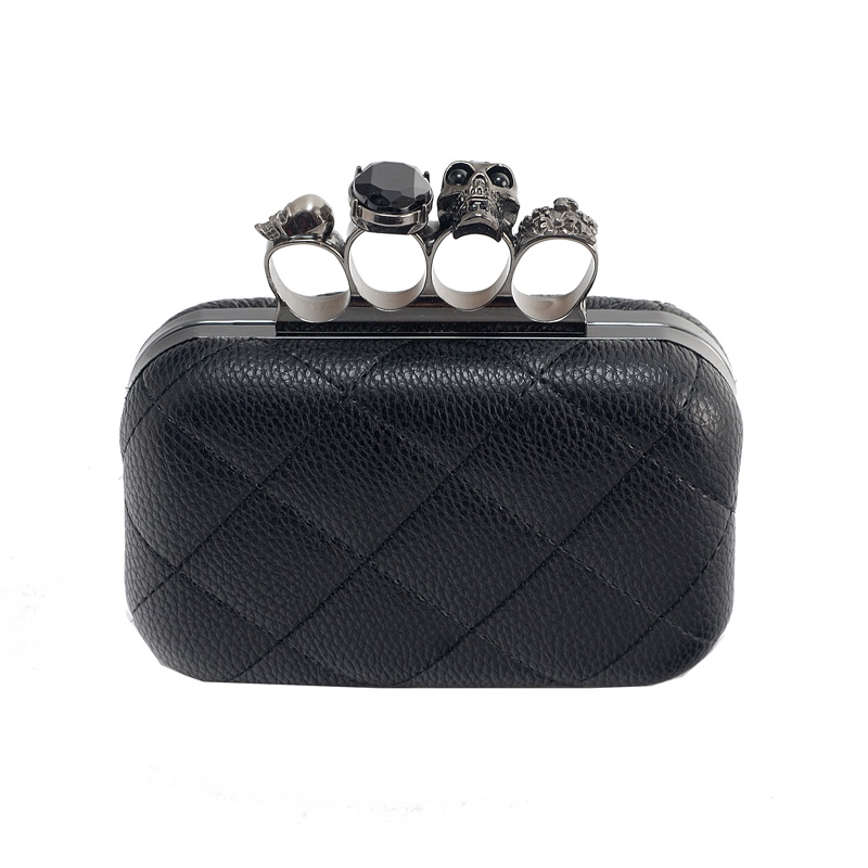 Hot sale Free shipping! 2013 clutch bag skull ring bag vintage evening bag cowhide chain fashion women's handbag(China (Mainland))