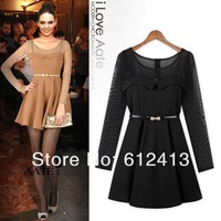 2013 new hot women fashion knitted mesh stitching dress, slim lady korean style long sleeve dress with S,M,L SIZE A-204