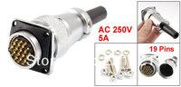 PLS24-19 Waterproof 19 Pin Circular Connector Adapter AC 250V 5A