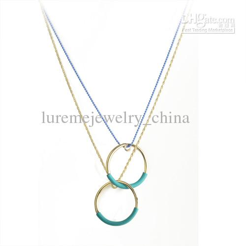 10 pcs 4 colors trendy double rings Pendant Necklace fashion jewelry for vintage cross pearl(China (Mainland))
