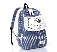 Best Selling!!New stylish girls canvas backpack dot print school bags climbing backpack Free Shipping