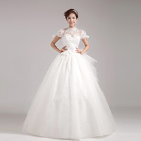 Fashion bride wedding dress formal dress lace racerback turtleneck sexy  tube top white dress