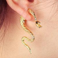 CCE276    New Arrival Rock Unique Earrings,18K Gold Plated Shy Snake Ear Clip Cuff Earrings