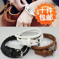 Free shipping Fashion 30pcs/lot Leather belt buckle bracelet woman hand catenary style