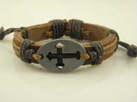 Wholesale Price New Leather Braided Cross Bracelets Handmade Leather Bracelet wholesale for Men