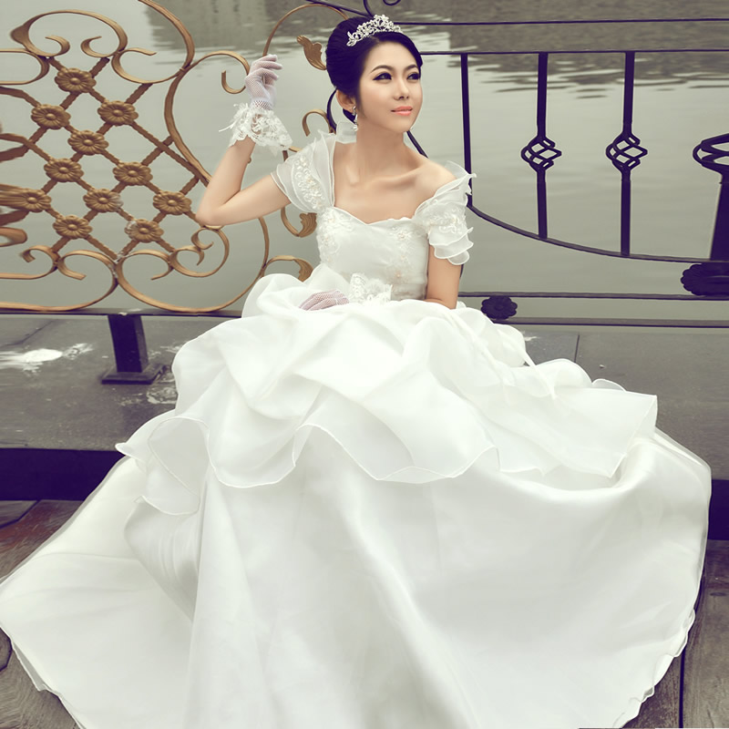 2013 sweet princess lotus leaf slit neckline tube top wedding qi(China (Mainland))