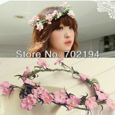 Newest flower head bands artificial garland with PE pink flower Head garlans bridal hair Hawaii headbands HZW16 in free shipping(China (Mainland))