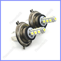 Super Brightness 2pcs H4 13-LED Car White Light 5050 1.3W 12V Lamp 6500K Free Shipping