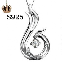 Free appraisal certificate 20501062ab 925 sterling silver platinum plated phoenix lover's gift pendant high quality wholesale