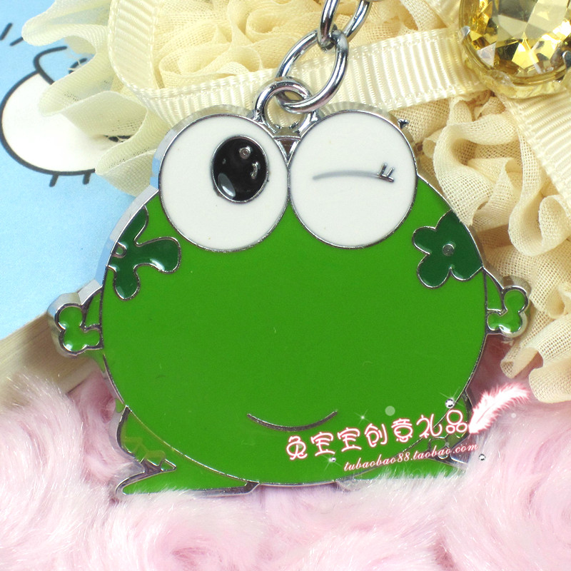 Hot-selling accessories big eyes green frog single keychain cartoon key chain(China (Mainland))