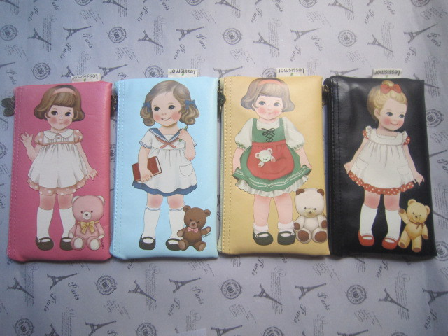 Wholesale doll girl PU Leather creative pens stationery pencil bag.Kawaii creative pens stationery pencil bags cases wallets pou(China (Mainland))
