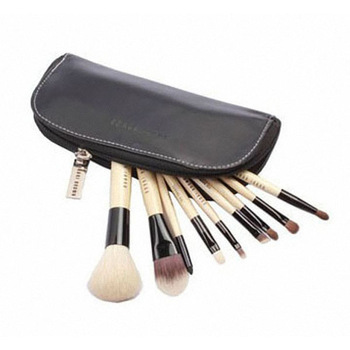 9pcs Set Wool Cosmetic Brush Make up Tool Kit Zipper Leather Pouch Case Free shipping & wholesale