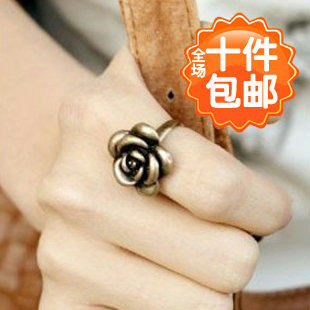 Small accessories fashion personality vintage copper fashion rose ring finger ring jewelry female(China (Mainland))