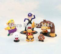 2int PVC Super Mario Bros Luigi donkey kong diddy kong L Action Figures 6pcs/set youshi mario Gift OPP retail