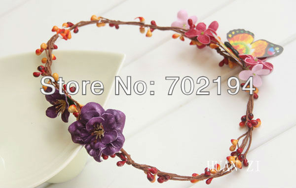 10 x Fashion wedding head wreath artificial head bands with butterfly Hawaii flower crown HZW18 in free shipping(China (Mainland))