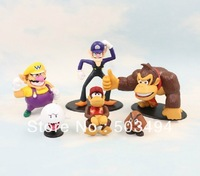 6Pcs Set Super Mario Bros Wario Waluigi Diddy Kong Goomba Ghost Boo Donkey kong Action Figure PVC Dolls