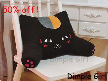 kawaii accessories car decorative pillows cute plush toy black lucky cat back support waist cushion for boyfriend girlfriend kid