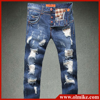 Man's Three rows of buckle washed cotton casual jean fashion scratch hole straight jeans male slim fit trousers C435